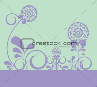 Abstract flowers on light background 1