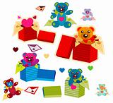 set of nine colorful vector gift with heart and toy bear