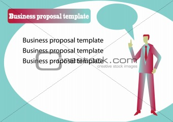 Business proposal template with speaker and speech bobble
