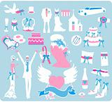 Wedding Bridal Icon set Design elements