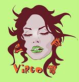 Woman Face Beauty Virgo Horoscope set make-up and beauty