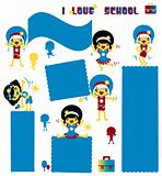 Kids school banners set. Happy active children