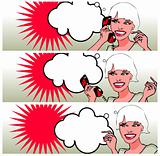 Comics style girl talking by phone (raster version)
