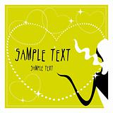 Vector love card jewelry and beauty woman silhouette