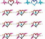 Cardio emblem icons set website buttons