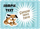 Cute dogs card template vector poster paper tag with flash