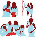 Set of parents and kids silhouette Family parent Kids work cook