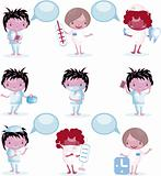 Group of Medical people icons with bubble speech