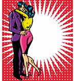 Pop art comic 1 Love Couple Kiss Vector illustration of man and