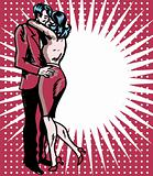 Pop art comic 1 Love Couple Kiss Vector illustration of man and