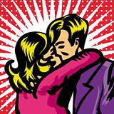 Pop art comic Vector illustration of Kissing Couple. Love.