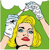 Pop-art Medical and Health Nurse Preparing Injection with bubble