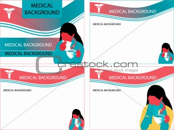 4 medical backgrounds vector