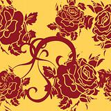 Seamless vector floral background rose retro dark