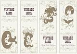 Vector vintage labels banner frame set with girls and flowers