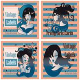 Vector vintage labels set with pretty cartoon girls and flowers