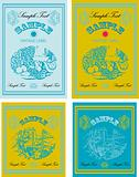 4 Vintage labels food, wine, fruit vector set
