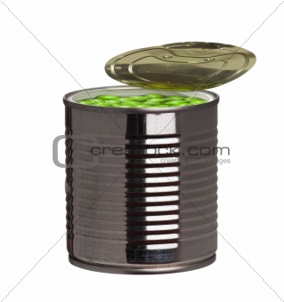 Tin can with green peas