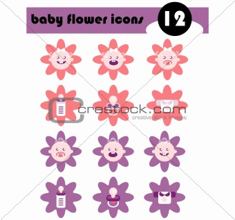 Baby Flower Icons Set Vector Frame