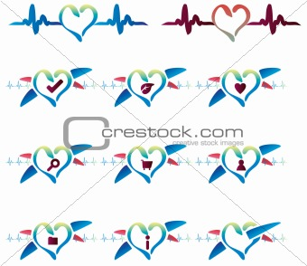 Cardio emblem icons set website buttons