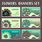 Colorful flower web banner set cards background