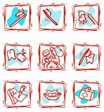 At dentist's office icons set clipart