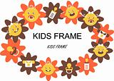 Flower Baby Frame Label  - food, dress, flowers, kids