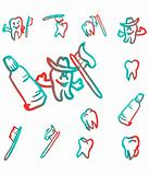 set of abstract teeth vector illustration symbol