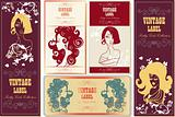 set of fake paper labels retro vintage woman flower nature beaut