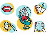 Set of medical symbols and signs for design. Dentist and patient