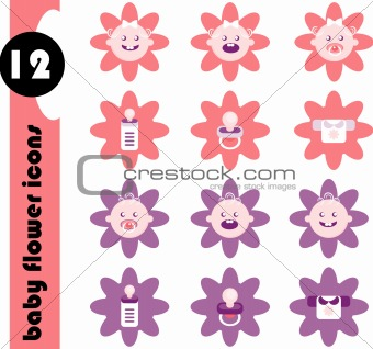 Baby Flower Icons Set Vector Frame