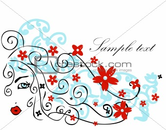 Beautiful girl with long hair vector illustration
