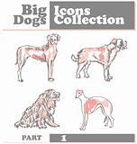 Set of dogs silhouette Big dogs Icons Collection vector