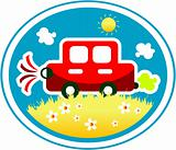 Car on nature background label with flower sun and grass