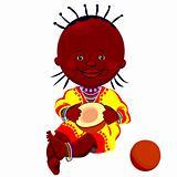 vector black baby with coconut