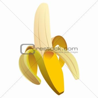 vector peeled ripe yellow banana