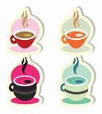 Coffee tea soup icons set stickers
