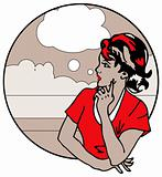 Cute Retro Gal Looking and think speak Popart Clipart
