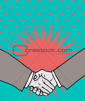 Deal! handshake isolated on retro background