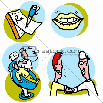 Dentist working on patient vector icons set