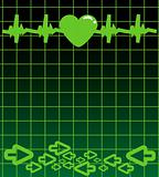 Editable vector background - heart and heartbeat symbol