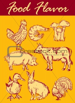 Food flavor icons vector set: farm animals - various retro-style