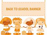 kids with banner back to school