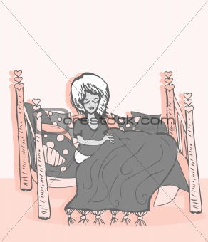 A Young Girl Sleeping - Vector