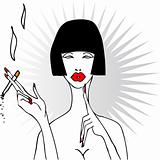 Smoking glamour woman with red lips and nails tattoo style comic