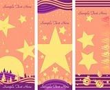 Three Christmas banners with xmas eve, stars and snow template