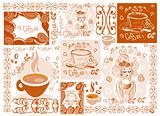 Vector coffee background wallpaper design