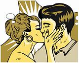 Woman kiss man Passion Love Sex Retro Popart style