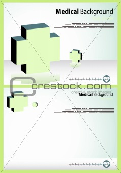 2 Medical backgrounds, Vector cardio cover and layout with ecg,