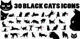 30 black cat Silhouette icons. Black and white isolated pets set